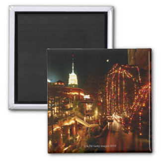 San Antonio Riverwalk at Night Square Magnet