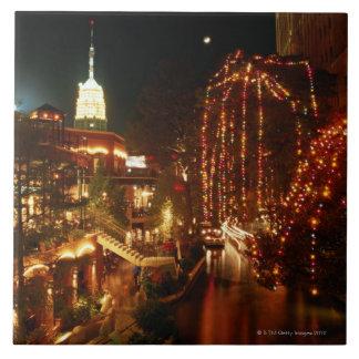San Antonio Riverwalk at Night Large Square Tile