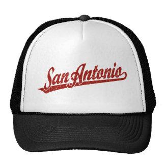 San Antonio script logo in red distressed Mesh Hats