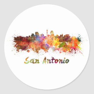 San Antonio skyline in watercolor Classic Round Sticker