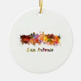 San Antonio skyline in watercolor Round Ceramic Decoration