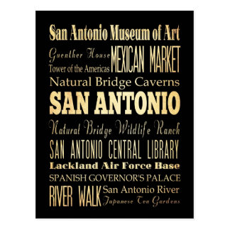 San Antonio Texas City State Typography Art Postcard
