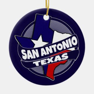 San Antonio Texas flag burst holiday ornament