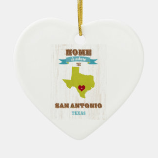 San Antonio,Texas Map – Home Is Where The Heart Is Ceramic Heart Decoration