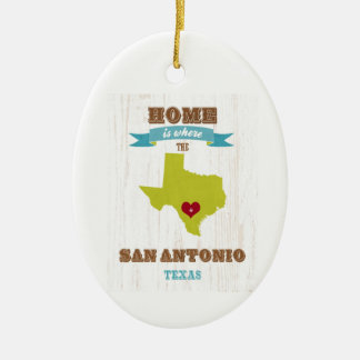 San Antonio,Texas Map – Home Is Where The Heart Is Ceramic Oval Decoration