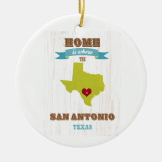 San Antonio,Texas Map – Home Is Where The Heart Is Round Ceramic Decoration
