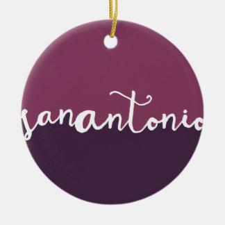 San Antonio, Texas   Purple Calligraphy Ombre Round Ceramic Decoration