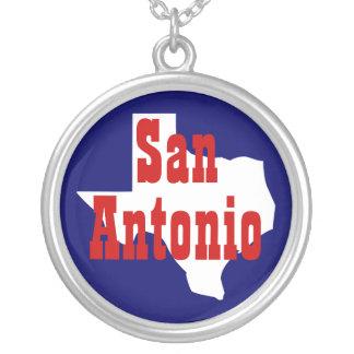 San Antonio Texas Round Pendant Necklace