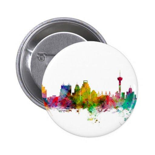 San Antonio Texas Skyline Pinback Button