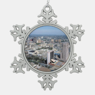 San Antonio Texas Skyline Pewter Snowflake Decoration