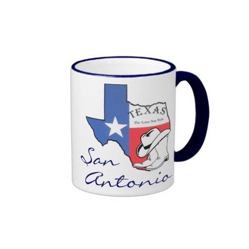 San Antonio Texas State Map, Star, Boots, Hat Mug