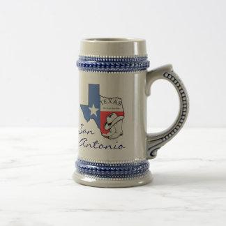 San Antonio Texas State Map Star, Boots, Hat Stein Mugs