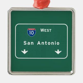 San Antonio Texas tx Interstate Highway Freeway : Silver-Colored Square Decoration