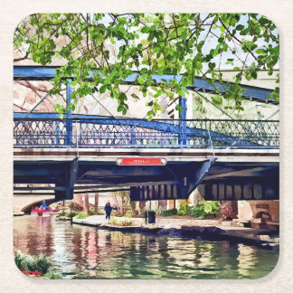 San Antonio TX - Bridge on Paseo Del Rio Square Paper Coaster