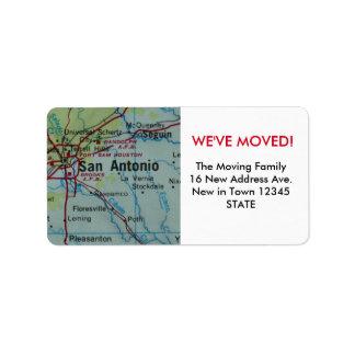 San Antonio We've Moved label Address Label