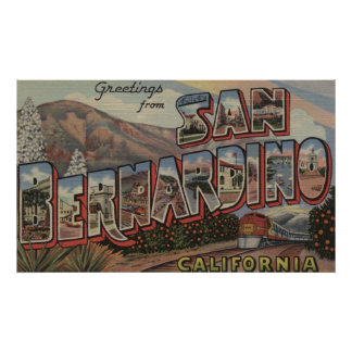 San Bernardino, California - Large Letter Scenes Poster