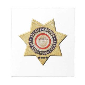 San Bernardino Sheriff-Coroner Notepad