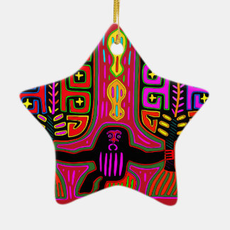 San Blas Kuna Man with Fans Ceramic Ornament