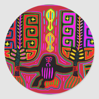San Blas Kuna Man with Fans Classic Round Sticker