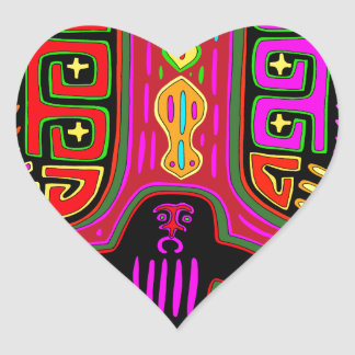 San Blas Kuna Man with Fans Heart Sticker