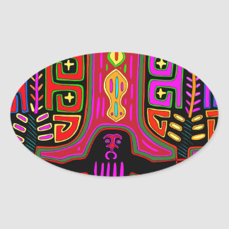 San Blas Kuna Man with Fans Oval Sticker
