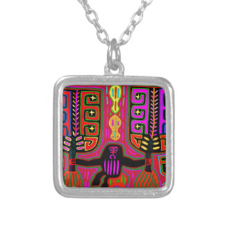 San Blas Kuna Man with Fans Silver Plated Necklace