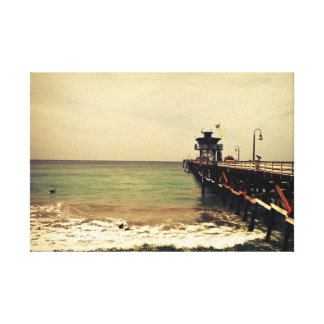 San Clemente pier-canvas-surf n storm Canvas Print