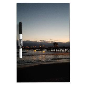 san clemente pier night time ocean california dry erase board