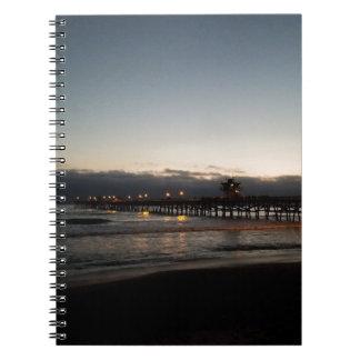 san clemente pier night time ocean california notebooks
