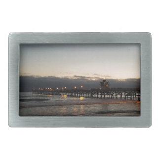 san clemente pier night time ocean california rectangular belt buckles