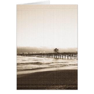 San Clemete pier California beach vintage photo Card
