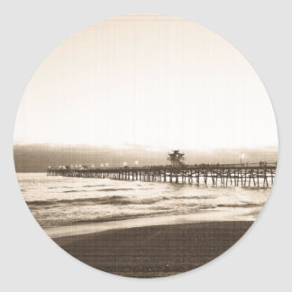 San Clemete pier California beach vintage photo Round Sticker