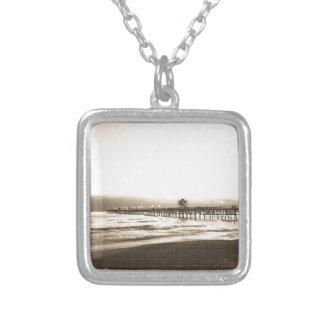 San Clemete pier California beach vintage photo Silver Plated Necklace