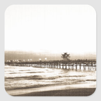 San Clemete pier California beach vintage photo Square Sticker