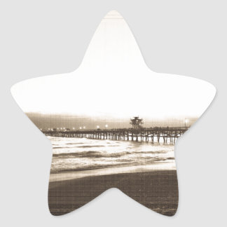 San Clemete pier California beach vintage photo Star Sticker