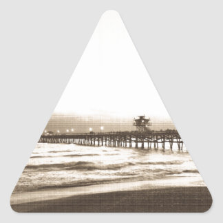 San Clemete pier California beach vintage photo Triangle Sticker
