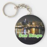 San Diego at Night Basic Round Button Key Ring