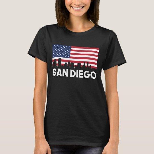 San Diego CA American Flag Skyline T-Shirt