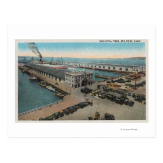 San Diego, CA - Municipal Piers Waterfront Postcard