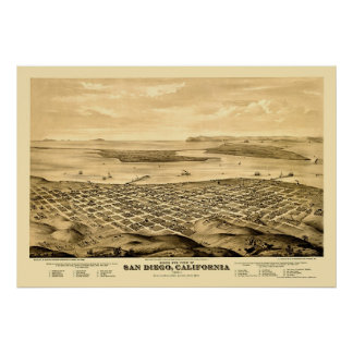 San Diego, CA Panoramic Map - 1876 Posters