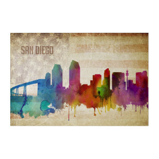San Diego, CA | Watercolor City Skyline Acrylic Print