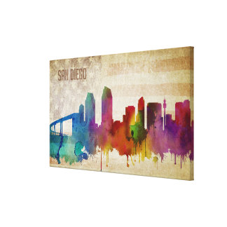 San Diego, CA | Watercolor City Skyline Canvas Print