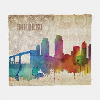 San Diego, CA | Watercolor City Skyline Fleece Blanket