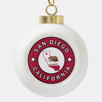 San Diego California Ceramic Ball Christmas Ornament
