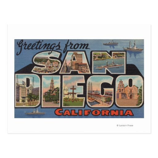 San Diego, California - Large Letter Scenes Post Cards