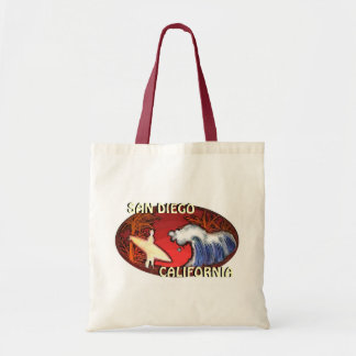 San Diego California surfer waves art reusable bag