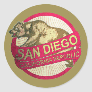 San Diego California vintage bear stickers