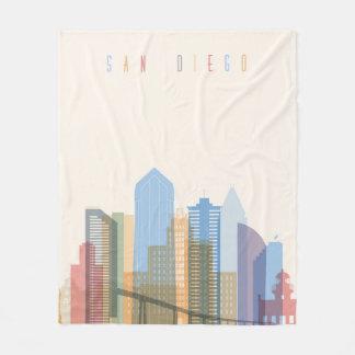 San Diego City Skyline Fleece Blanket