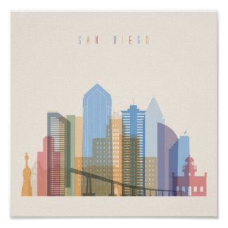 San Diego City Skyline Poster