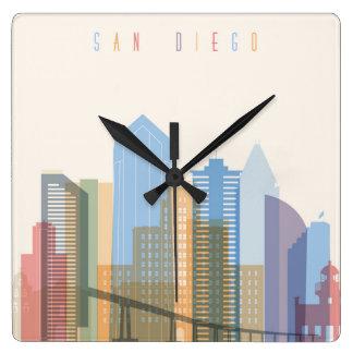 San Diego City Skyline Square Wall Clock